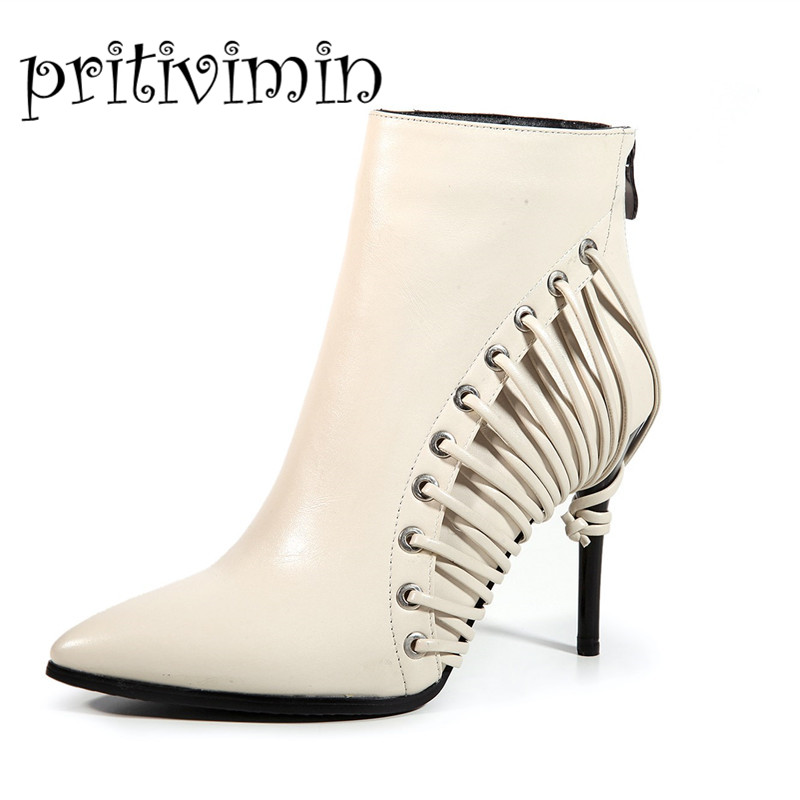 2017 New plus size 35-43 women winter warm lined botines mujer pointed toe booties sexy high heels ankle boots pritivimin FN100