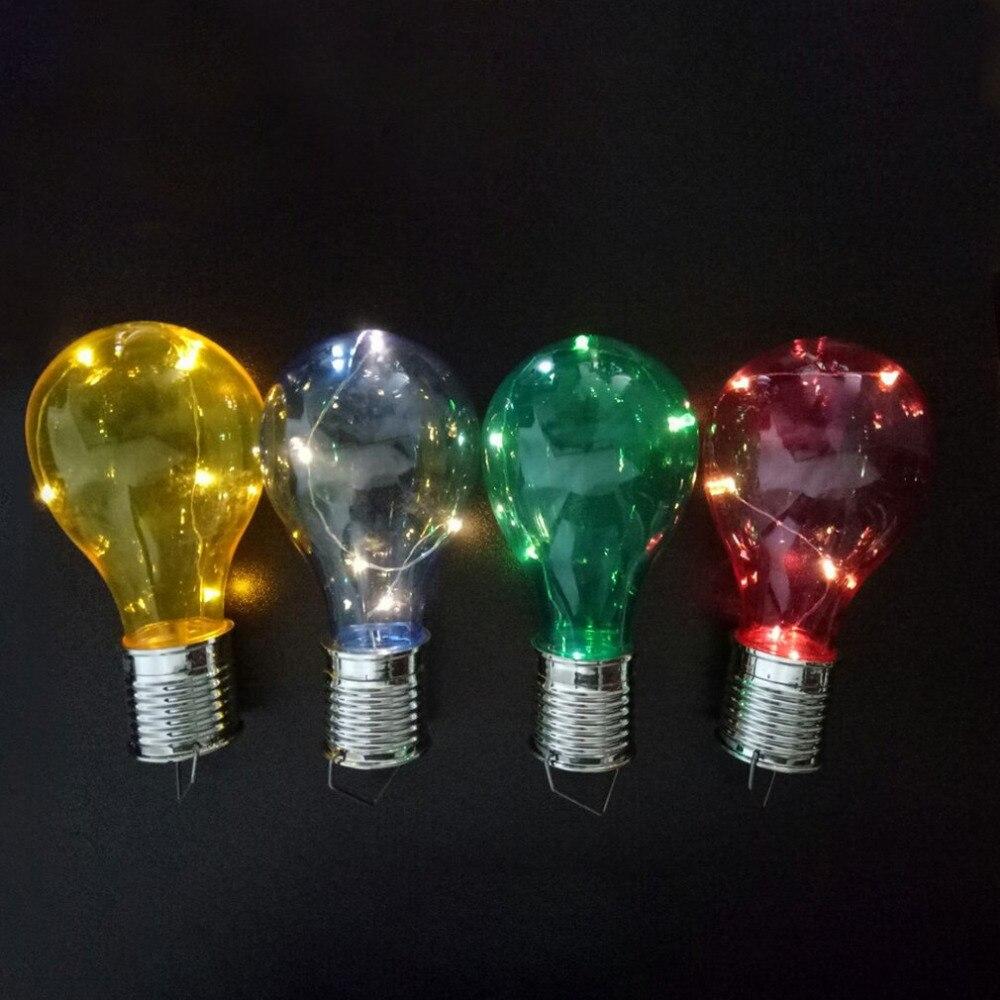 4 X Solar Power Garden Hanging Coloured Plastic Led Bulb