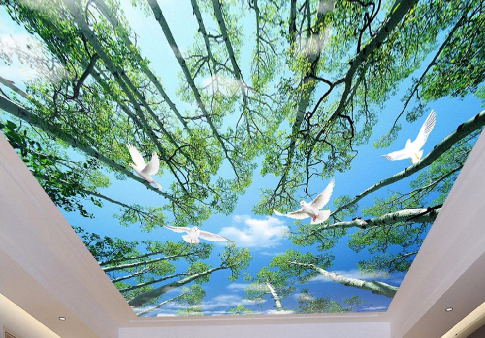 Modern Sky and clouds Ceiling Wallpaper Murals Fresh tree landscape Ceiling 3D Desktop Wallpaper Photo Ceiling For Living room high definition sky blue sky ceiling murals landscape wallpaper living room bedroom 3d wallpaper for ceiling