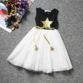 Star algodón imprimir vestido de niña de verano de alto grado de los niños de fiesta vestido de dama muchacha embroman la ropa 2016