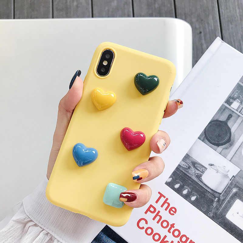 Mode Einfache Candy Farbe Cartoon 3D Quadrat Herz Fall Für iPhone 6 6 S 7 8 X XS MAX XR INS Kim Hyun-EIN Stil Weichen Silicon Abdeckung