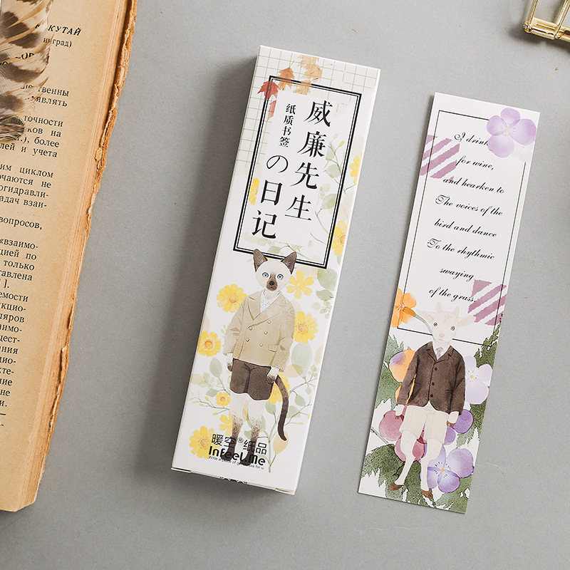 30 Pcs/Set Cartoon Mr William's Diar Paper Bookmark Book Holder Message Card Kawaii Gift Stationery