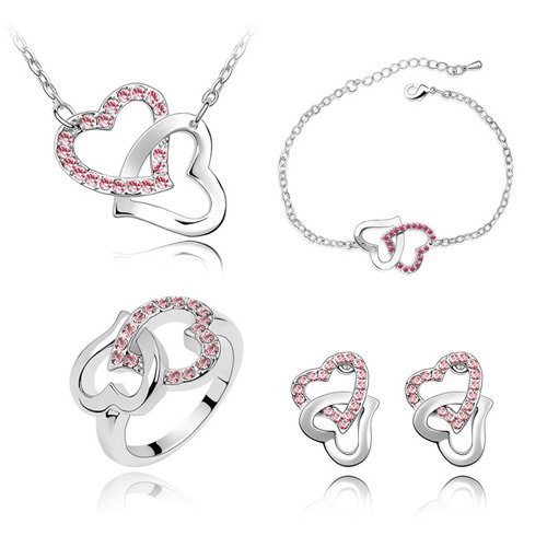 Promotion! Valentine's Day Gift Crystal Set Jewelry Earrings+Necklace+Bracelet+Ring Make With Austrian Crystal #83135