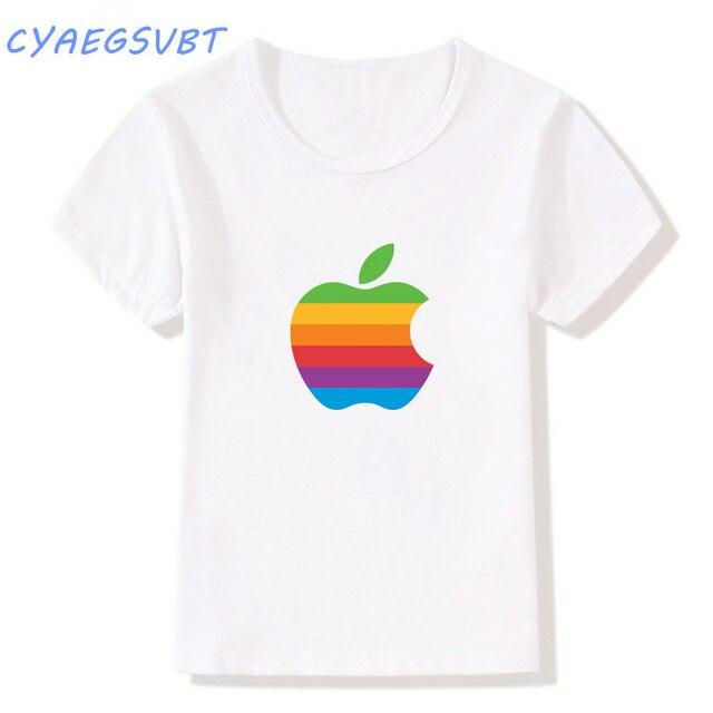 166a4b7d CYAEGSVBT Summer Kids T Shirts Creative Design Boys girls T-Shirt Apple  Humor Logo Printed Funny T Shirt Short Sleeve Tee Shirts