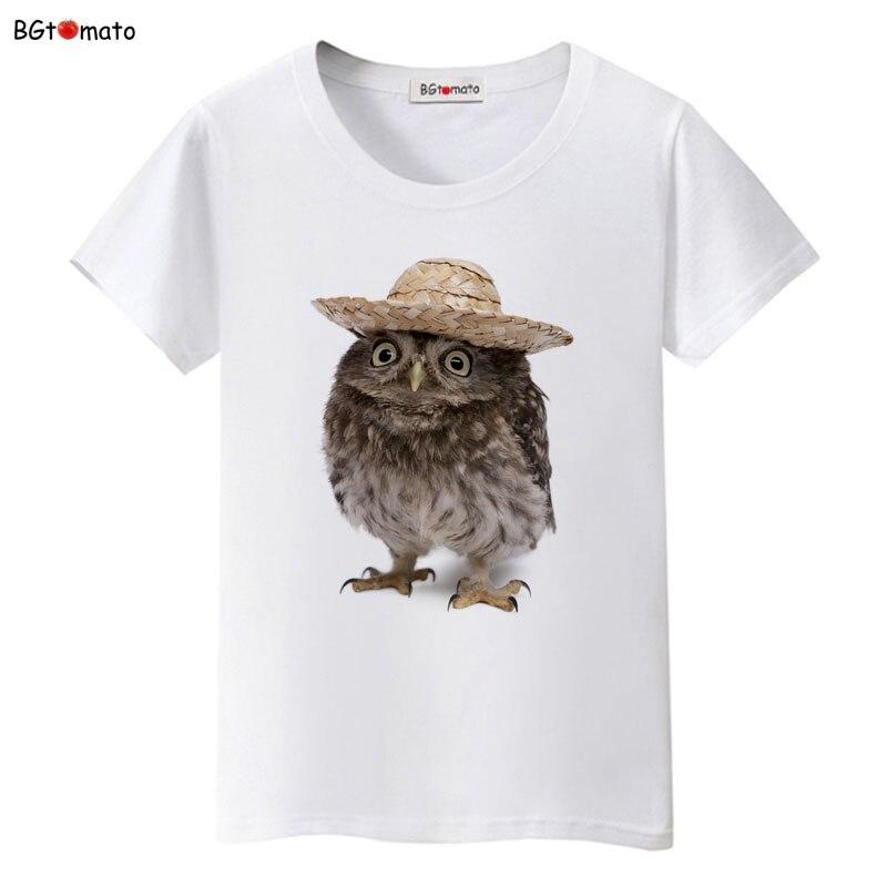 BGtomato Wear a hat of the owl t shirt women originality summer shirt Brand Good quality t shirt casual tops