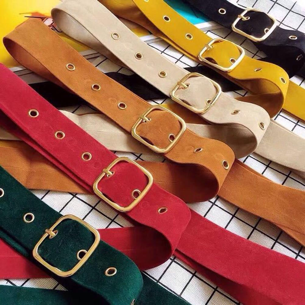 Retro Suede Wide Waist Belt Large Square Buckle Strap Clothes Decor Waistband New