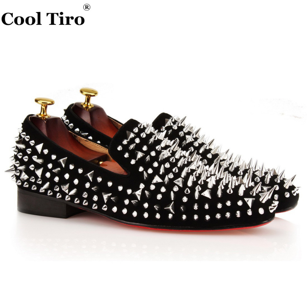 COOL TIRO Mens Loafers Shoes Black Suede Dandelion Spikes Rivets Slip on Men's Casual Flats Slippers Wedding Party Dress Shoes hot sales new fashion dandelion spikes mens loafers high quality suede black slip on sliver rivet flats shoes mens casual shoes