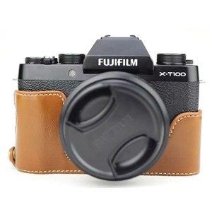 Image 5 - Luxus Leder Kamera Fall Abdeckung für Fujifilm X T100 Fuji XT100 PU Halb Körper Tasche Batterie Openning Mini Lagerung Tasche kamera Gurt