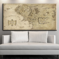 ZZ1614 Map Of Middle Earth The Hobbit Movie Poster Classic Retro Vintage Canvas Oil Art Painting