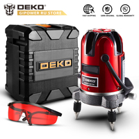 DEKO LL57/58 Red Vertical Horizontal Laser Lines 5 Lines 6 Points Laser Level Self Leveling 360 Degrees Indoor/Outdoor Receiver