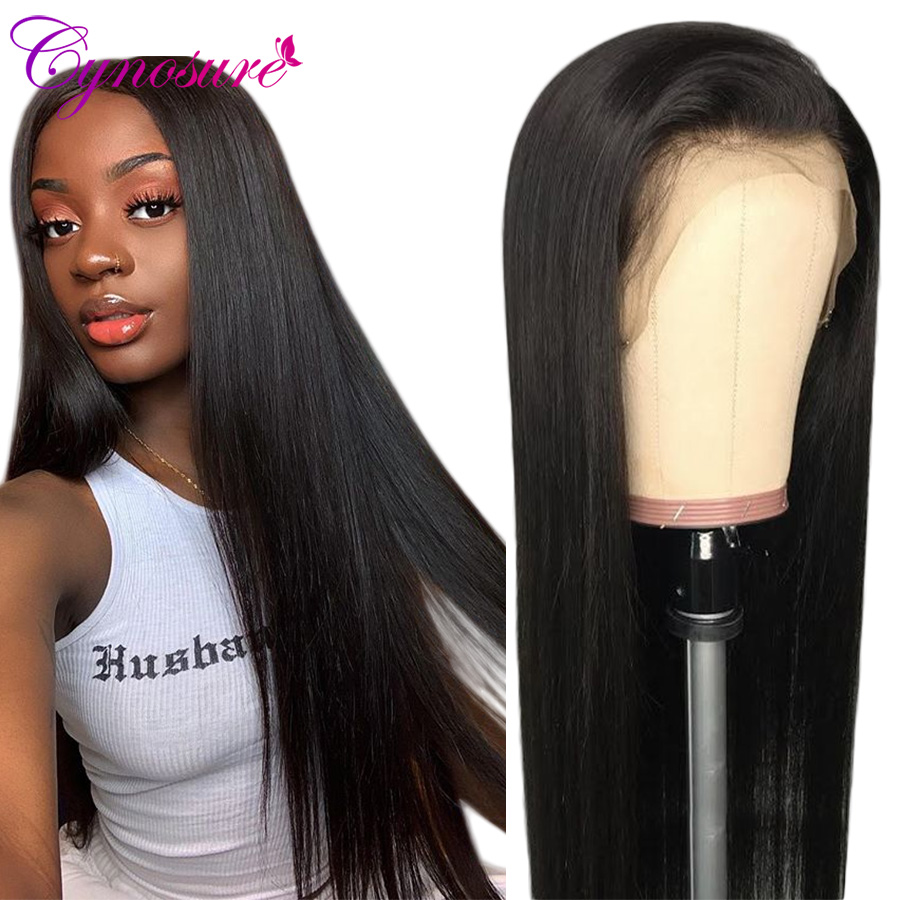 Cynosure Lace Front Human Hair Wigs For Black Women Pre Plucked Hairline Brazilian Straight Lace Frontal Wig With Baby Hair Remy(China)