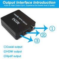 Hdmi audio extractor HDMI a HDMI y óptica TOSLINK SPDIF + estéreo de 3,5mm de Audio Extractor HDMI convertidor de adaptador de divisor de Audio