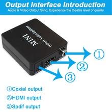 Hdmi ses extractor HDMI HDMI ve optik TOSLINK SPDIF + 3.5mm Stereo ses Extractor dönüştürücü HDMI ses dağıtıcı kablosu adaptörü