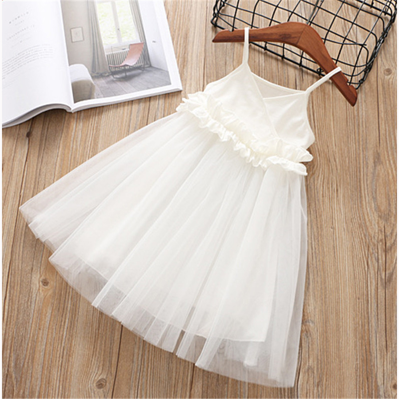 Hurave lace work Casual solid mesh tutu New baby Girl clothes Summer sleeveless camis dress Kids Clothes dresses