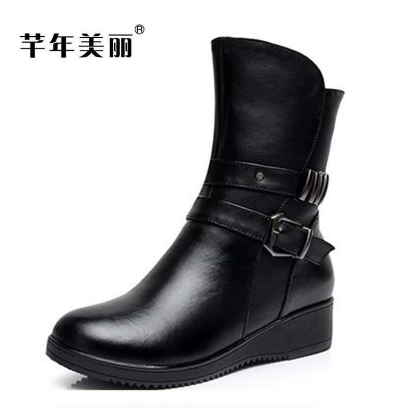 2017 winter warm big size 40-43 Mid-Calf Boots women Genuine Leather Slope thick bottom cotton boots Female boty double buckle cross straps mid calf boots