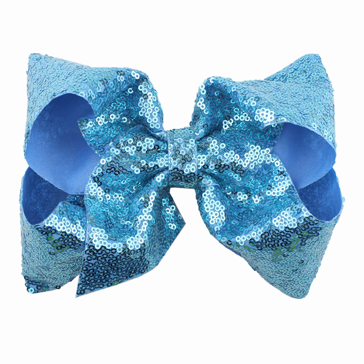 8 inch Jumbo Sequin Rainbow Bow With Hair Clip For Girls Kids Handmade Boutique Knot Jumbo Hair Bow Hairgrips Hair Accessories (20)