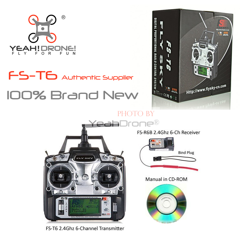 FlySky FS-T6 FS T6 2.4G 6CH RC Radio Control Transmitter w/ FS-R6B Receiver System -Ship with Color Box flysky 2 4g 6ch channel fs t6 transmitter receiver radio system remote controller mode1 2 lcd w rx rc helicopter multirotor