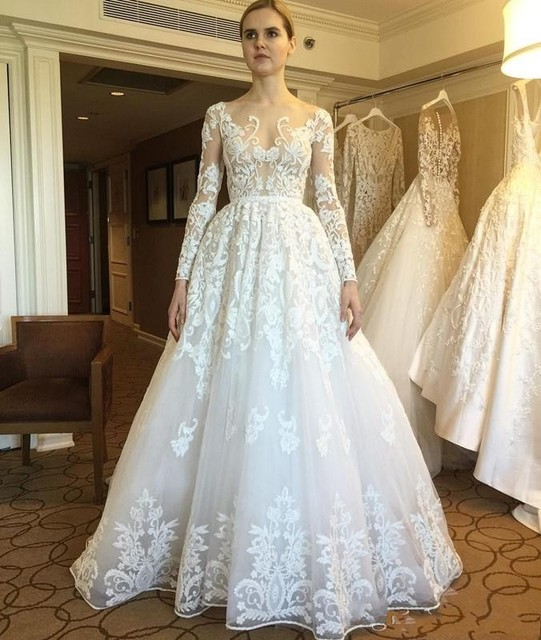 84fcbabb51 2017 New Zuhair Murad Wedding Dresses Sheer Long Sleeves Lace Appliques  Button Back Arabic Vestios De Novia Bridal Gowns