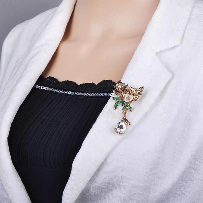 Funmor Klasik Shell Bunga Daun Burung Bros Air Drop Rhinestone Tanaman Korsase Wanita Lapel Pins Kristal Ulang Tahun Perhiasan