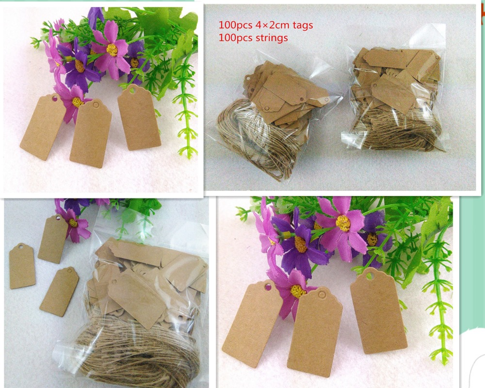 100X 4*2cm Brown Kraft Paper Tag Rectangle Scalloped Head Label Luggage Wedding Note Tag With String DIY Blank Price Hang Tags