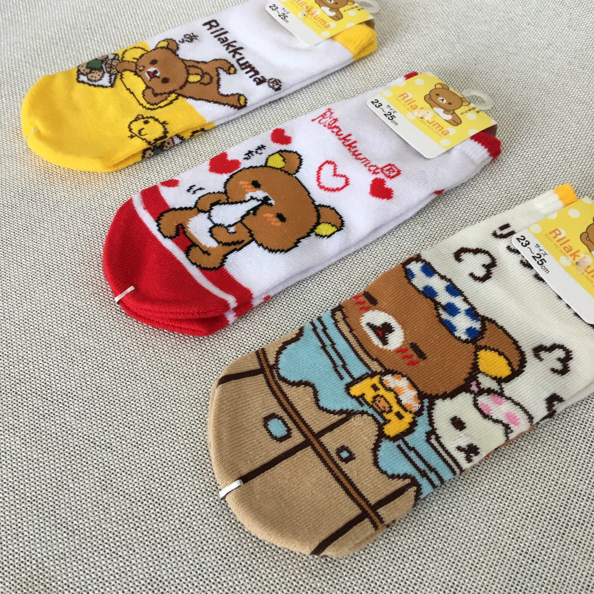 Underwear & Sleepwears Cartoon Rilakkuma Bear Print Socks Cute Funny Novelty Fashion Women Spring Autumn Comfort Sweat Absorption Cotton Short Sock New