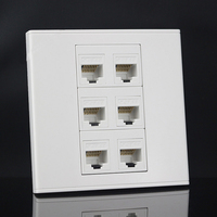 New Six Ports 86mm Cat6 Keystone Wall Plate Faceplate Rj45 Jack Modular Face Plate Socket Rj45