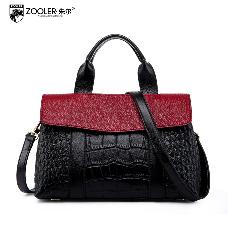 ZOOLER Women Patchwork Genuine Leather Bag 2018 Winter Fashion Handbag Crocodile Pattern Satchel Shoulder Bags Ladies Handbags yuanyu 2018 new hot free shipping crocodile women handbag shoulder strap bag leather shoulder bag ladies handbags