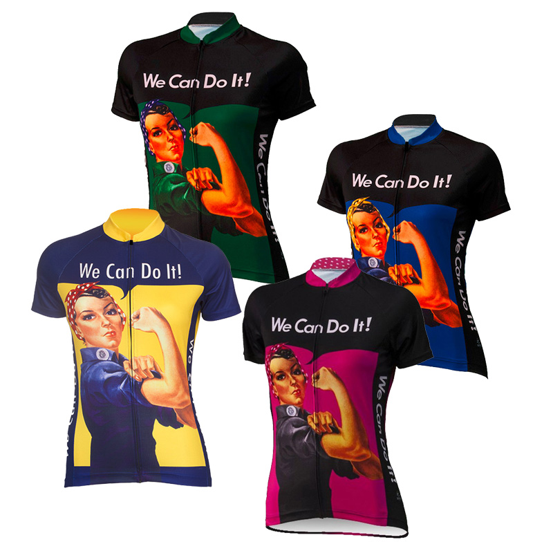 Hot <font><b>Women</b></font> Cycling <font><b>Jerseys</b></font> We Can Do It Team Road Bicycle Clothing Bike Wear Clothes Ropa Ciclismo Short Sleeve Maillot Ciclismo