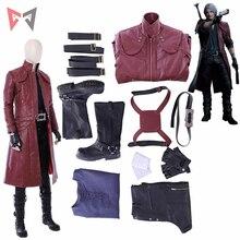 Halloween Game Dmc Dante Cosplay Kostuum Pruik Lange Lederen Jas Laarzen Custom Made Size Set Hoge Kwaliteit