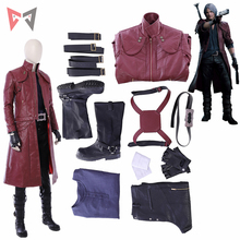 Halloween game DMC Dante cosplay Costume wig long leather jacket boots custom made size set High Quality