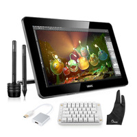 Ugee HK1560 15.6 IPS Art Drawing Graphics Monitor Art Drawing + Mechanical Keyboard+ USB 3.0 to HDMI Adapter+ Two Finger Glove
