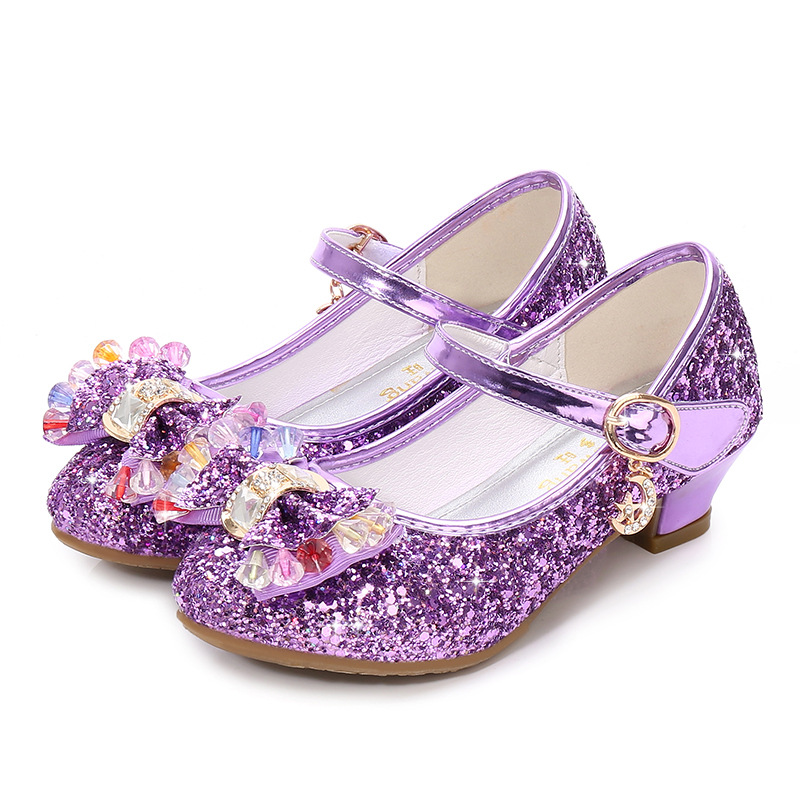 ULKNN Girls High-heeled Shoes 2020 New Sequins Spring Shoes Small Girls Princess Students Performance Bow Shoes  Red, Purple, Bl