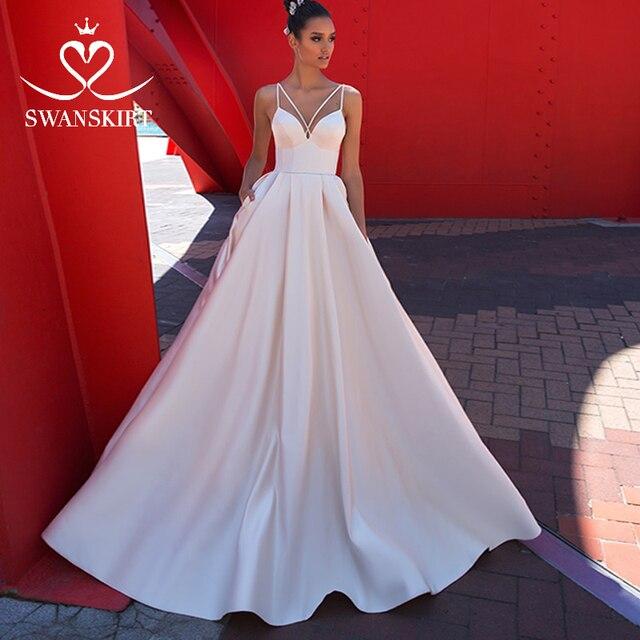 Fashion Sweetheart Satin Wedding Dress Swanskirt Simple A Line With Pocket Court Train Bride Gown Princess Vestido de Noiva F136