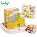 Bebé juguetes para niños de regalo Cubo De Madera Del Bloque-9 unid para niños brinquedos