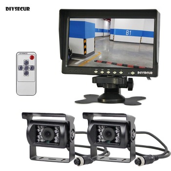 """DIYSECUR AHD 7"""" IPS LCD Backup Monitor Rear View Monitor 2 x Waterproof IR Night Vision 960P AHD Camera for Bus Houseboat Truck"""