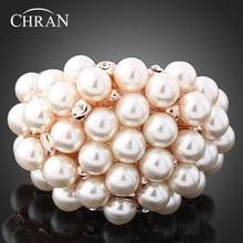 Chran Charm Gold Color Crystal Finger Rings Elegant Faux Pearl Rings for Women Valentine's Gift stylish champagne color faux crystal embellished bracelet for women