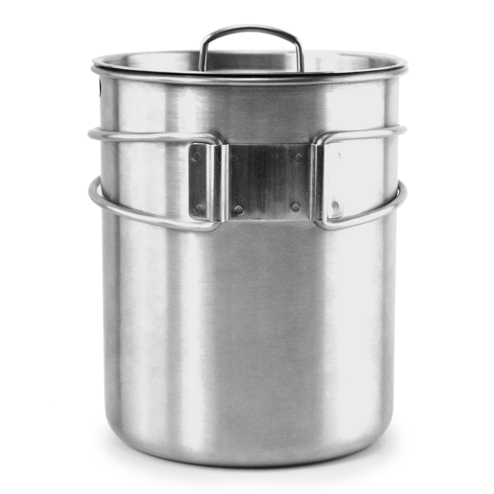 Image 2 - Portable Outdoor Stainless Steel Camping Mug Water Cup with Foldable Handle Outdoor Tableware Camping Hiking-in Outdoor Tablewares from Sports & Entertainment