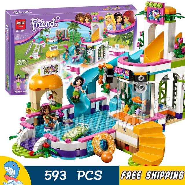 Us 2699 593pcs Friends Heartlake Summer Pool Andrea Martina 10611 Model Building Blocks Children Kids Toys Bricks Compatible With Lego In Blocks