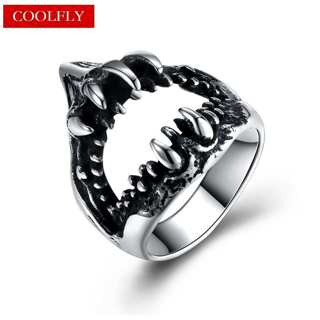 Vintage Titanium Steel Large Shark Mouth Rings For Men Gothic Style