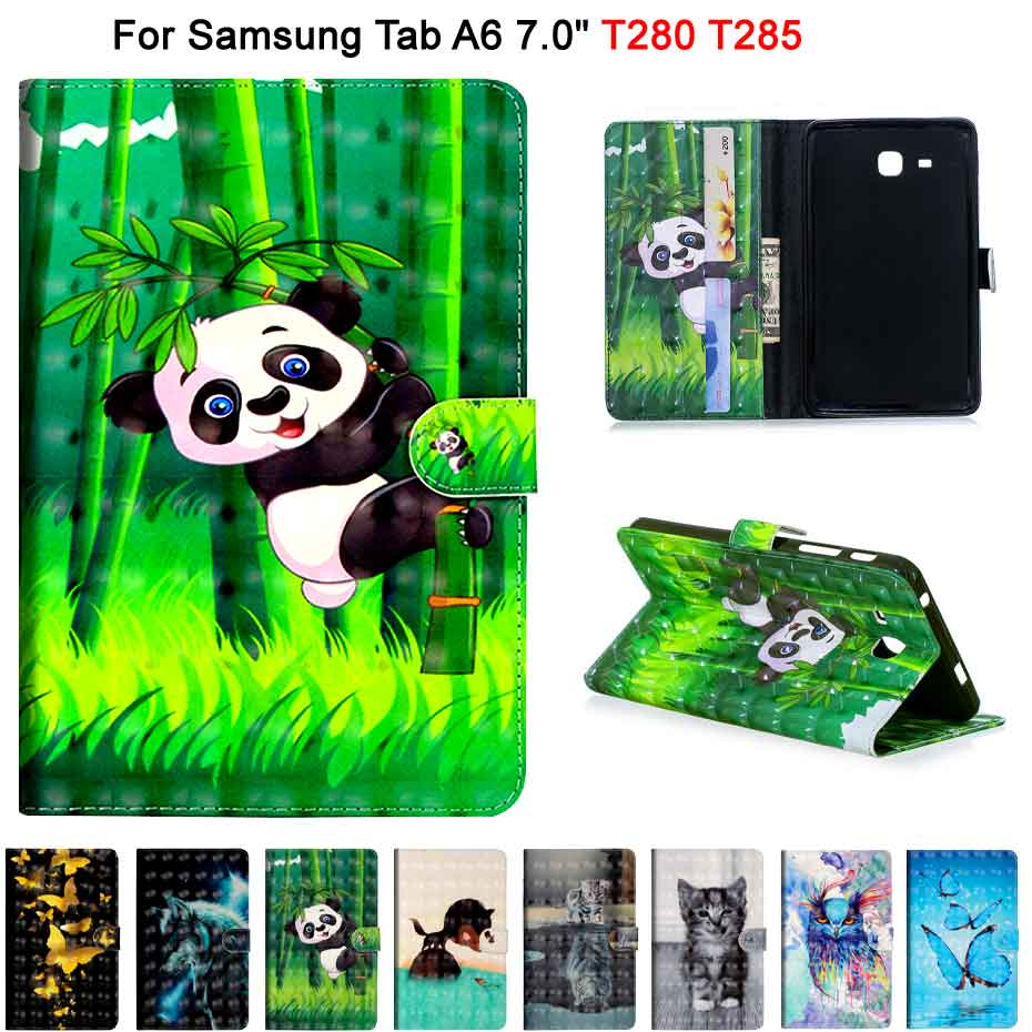 3D Painting PU Leather Case For Samsung Galaxy Tab A A6 7.0 T280 T285 SM-T285 Smart Cover Fundas Case Flip Stand Shell