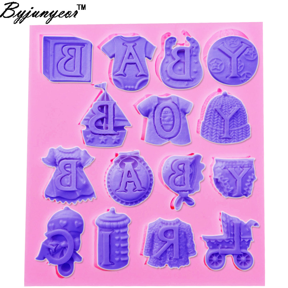 F1023 Baby Boy Girl Clothes Silicone Mold Feeding Bottle Gumpaste Chocolate Moulds Fondant Cake Decorating Tools Fimo Clay Cand