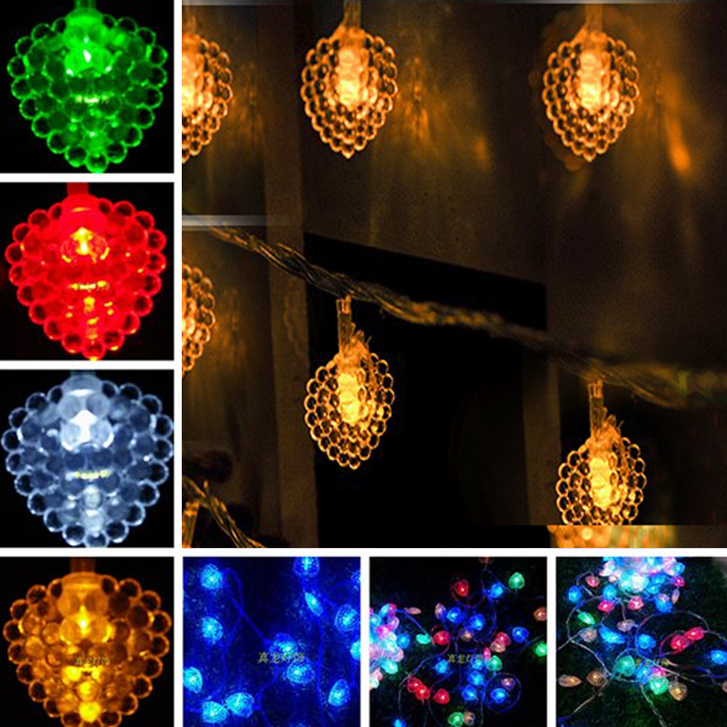 35pcs/set 10m 50leds curtian light AC220V/110V decoration light for wedding indoor Heart led string light with end plug
