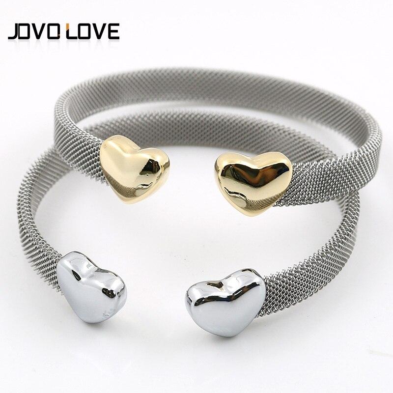 JOVO Women's Fashion Heart Mesh Bracelets Silver Gold Love Heart Cuff Bracelets for women Grey Mesh Cuff Bracelets Jewelry mesh bow and cuff portrait tee