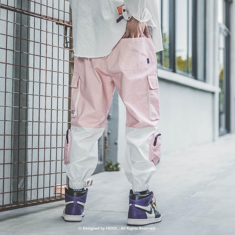 Pantalon Cargo épissure militaire couleur contrastée multi poches joggeurs armée piste pantalon tactique hommes Hip Hop Swag Streetwear rose-in Pantalon cargo from Vêtements homme on AliExpress - 11.11_Double 11_Singles' Day 2