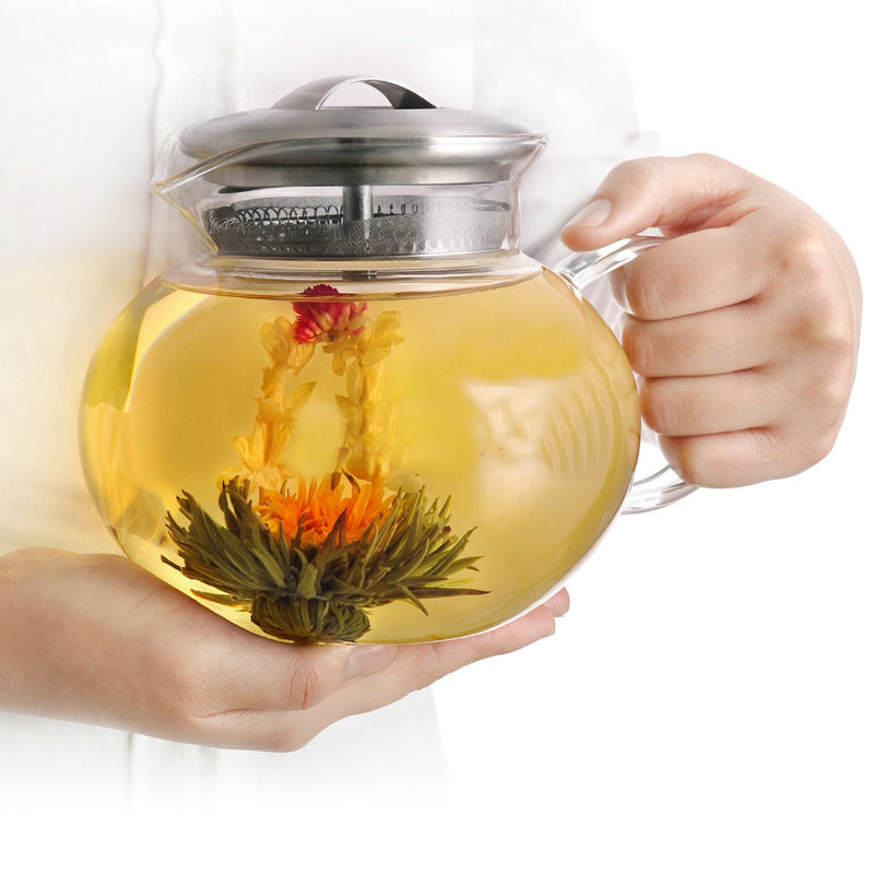 New 1000ML Large Capacity Heat resistant Tea Juice Water Glass Cooled Pot With Lid Filter Kettle