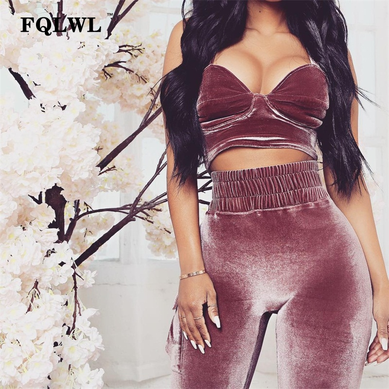 61a9f0aec49d4 US $17.41 49% OFF|FQLWL Woman Two Piece Set Velvet Tracksuits Backless  Pockets High Waist Pink Outfits Legging Pants Crop Top Women Tracksuit  Set-in ...