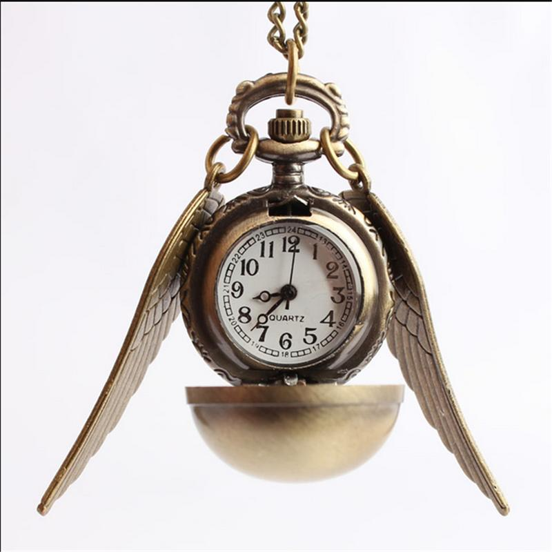 Fashion Silver Bronze Ball Wings Antique Steampunk Pocket Watch wings pendant for men and women