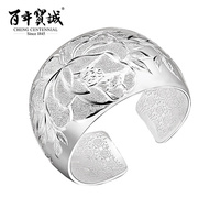 Manual sculpture Peony Sterling silver bracelet Female Silver ornament Ringent design jewelry
