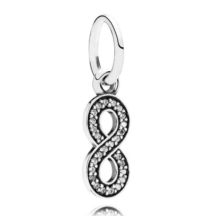 Real 925 Sterling Silver Bead Charm Infinity Sign With Crystal Pendant Bead Fit Pandora Bracelet Bangle Diy Jewelry