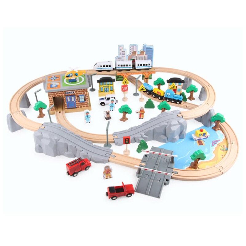 Diy estrada de ferro de madeira reta e curvada expansão trilha take-n-play motorizada trem elétrico trilha de madeira trens brio conjunto de pista